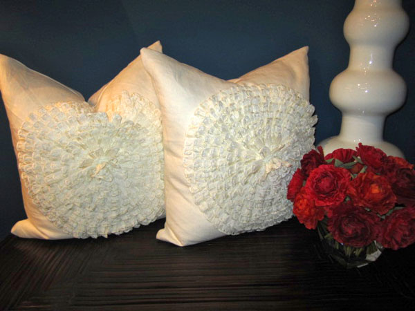Dahlia White Linen Pillow from Daniel Stuart