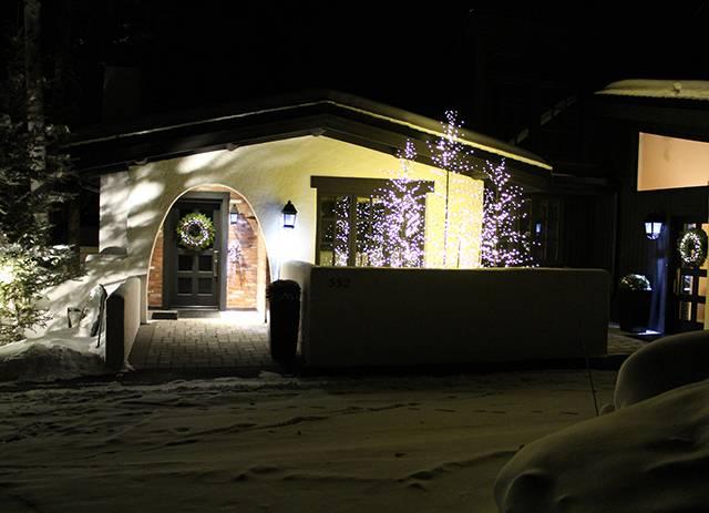 stucco house night