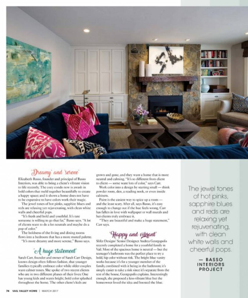 Talking Color with Vail Valley HOME Magazine - Slifer Designs