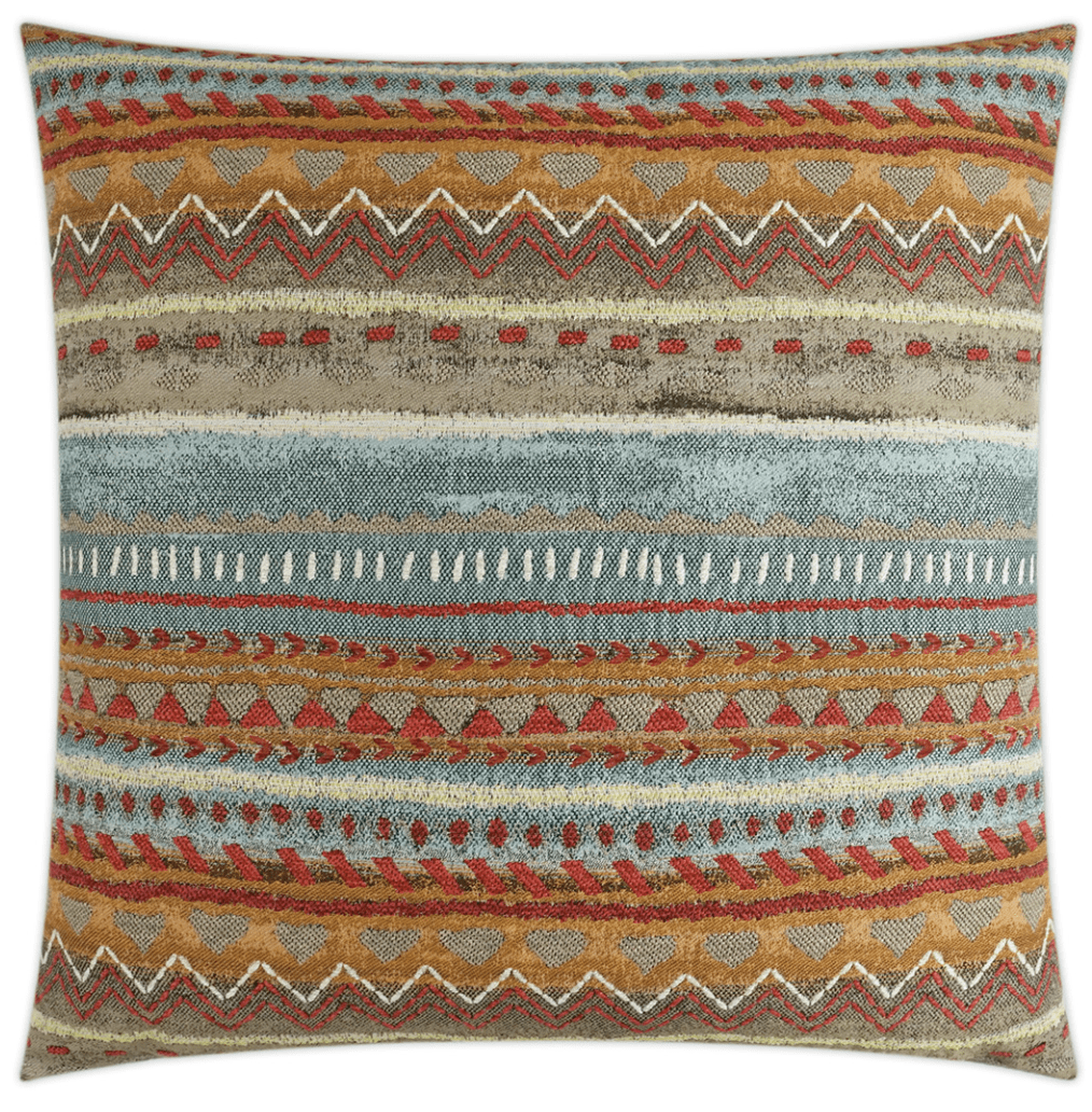 "Orange and Blue Navajo Woven Pillow 24"" x 24"""